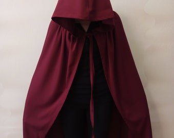 Hooded Cloak Red Cloak Burgundy Red riding hood Super hero Lord of the rings Hobbit cloak Adult cape Renaissance Handmaids Tale Halloween