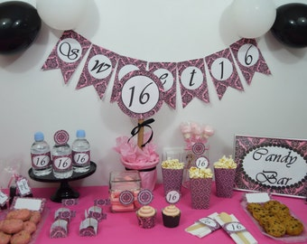 sweet 16 printables decoration sweet sixteen candy bar partt kit 16