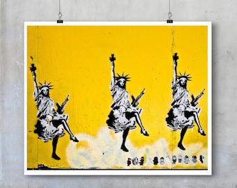 Graffiti Art Print: Statues of Liberty dancing stencil yellow wall - subversive Americana photography print 10x8 11x14 wall art home décor