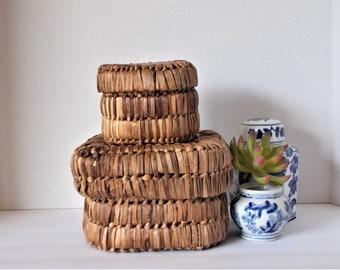 Vintage Baskets Baskets with Lids Grass Baskets Small Storage Baskets Jungalow Decor Natural Fiber Baskets Boho Decor