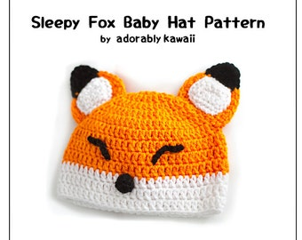 Sleepy Fox Baby Hat Pattern, Crochet Baby Hat, Fox Baby Beanie, Baby Fox Pattern, Cute Animal Hat, Sleepy Fox Pattern, DIY Cute Fox Baby Hat