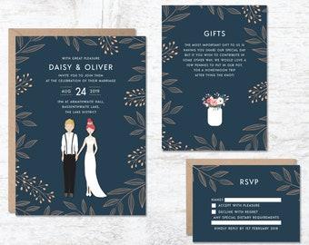 Wedding Illustration Invitation, Portrait Wedding Invitation, Rustic Wedding Invitation, Wedding Invitation Template, Wedding Invite Boho