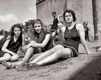Girls At the Beach 1920's Photo