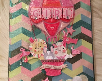 Mixed Media 5x7 box sign special delivery baby girl gift