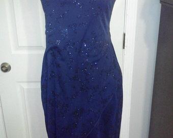 Glitter party dress in midnight blue