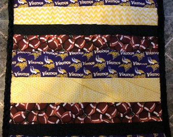 Minnesota Vikings minky backed baby quilt. Super soft. 26 x 34 in baby blanket.