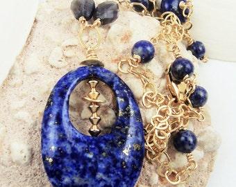 Lapis Lazuli Necklace Blue Beaded Necklace Lapis Lazuli Gemstone Jewelry Iolite Natural Stone Necklace 14kt Gold Filled Jewelry