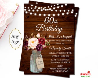 60th Birthday Invitations for Women, Surprise 60th Birthday Invitation, Floral Birthday Invitation, Rustic Birthday Invitation Wooden, A48