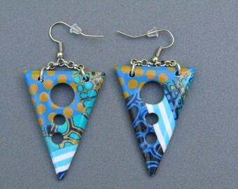 Polymer clay earrings. Triangular earrings. Dangling earrings. Polymer clay hoop earrings.