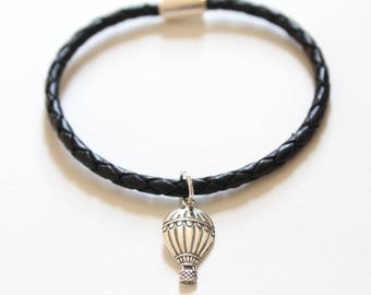 Leather Bracelet with Sterling Silver Hot Air Balloon Charm, Hot Air Balloon Charm Bracelet, Hot Air Balloon Bracelet, Hot Air Balloon