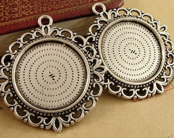 Wholesale 20 Pendant Trays Double Sided 25mm Round Bezel Setting Filigree Rope-Edged Alloy Antique Bronze/ Antique Silver/ Silver Mountings
