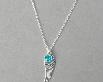December Birthstone and Angel Wing- Blue Zircon Swarovski Drop Necklace