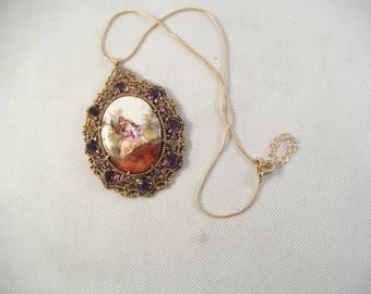 Large Porcelain Pendant,  Cameo of Victorian Couple, Romantic, with Large Purple Rhinestone ,\Glass Cabochons. Gold Tone