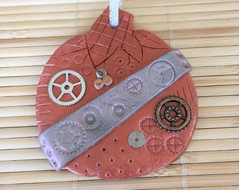 Steampunk Autumn Pumpkin Holiday Ornament - Halloween Fall Thanksgiving Decoration style 2
