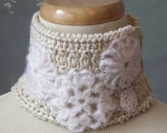 Unique Crocheted Neckwarmer with Mohair Appliques