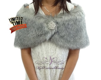 Faux Fur Kid Wrap, Grey Chinchilla Faux Fur Stole For Flower Girl, Wedding Fur Shrug, Kid Fur Stole, Fur Wrap, Faux Fur Shawl KW108-GREYCHIN