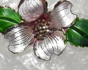 Vintage Signed Giovanni Dogwood Brooch pin, Joseph Giovanni Jewelry ,Silver and Green enamel pin ,Dogwood Flower, Easter, Mother's Day Gift