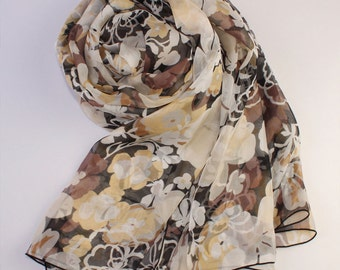 Brown Silk Scarf with Asian Style Tangerine Flower Print - Abstract Floral Silk Scarf - AS37