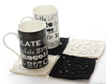 CROCHET PATTERN - Coffee Shop Coasters - Instant Download (PDF)