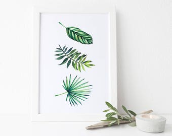 Botanical Watercolour Leaves Print