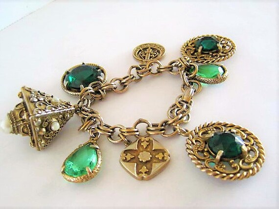 Green Chunky Charm Bracelet, Glass Cabochons, Gold Tone Filigree, Faux Pearl Highlights