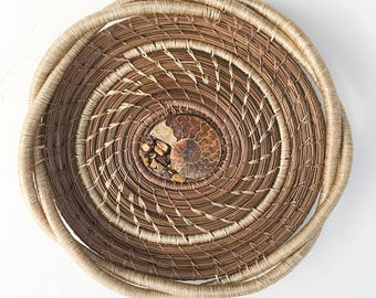 Pine Needle Basket with Fossil Center- Item 820 by Susan Ashley