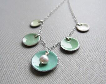 Ombre Mint Green Enamel Necklace Gray Pearl