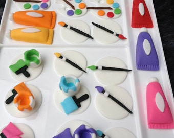 Art Party (12)handmade edible fondant cupcake toppers made by FancyTopCupcake