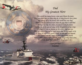 Coast Guard Gifts for Dad, Coast Guard Dad, Gift for Dad, Christmas Gift, Birthday Gift, Retirement, Gift Print, Personalized, Father's Day