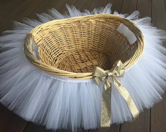 White and Gold Tutu Basket, Tutu Gift Basket, Tutu Baby Shower Basket, Wedding Basket, tutu Easter Basket, Newborn Photo Prop Ba