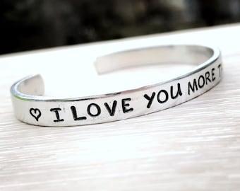 Love You More Than Beer, Love You Bracelet, Beer Lover Gift, Mothers Day Gift, Handstamped Bracelet, Girlfriend Gift, Best Friend Gift