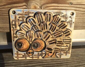 Scandinavian design /Ulla Winblad small stoneware plaque tile wall hanging relief / hedgehog /Alingsås Keramik / Sweden 60s