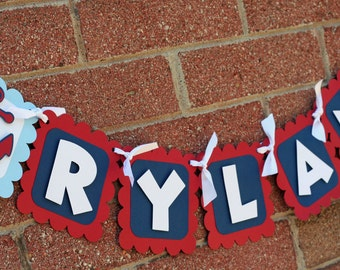 Nautical Name Banner, nautical banner, Nautical birthday, crab banner, Under the Sea Banner, First Birthday, Under the Sea Birthday, Anchor