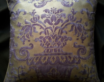 """20"""" x 20"""" Fortuny Fabric Throw Pillow Cushion Case Royal Purple & Silvery Gold Carnavalet Pattern Backed with Rubelli Fabric - Made in Italy"""