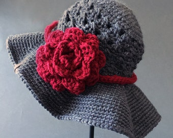 CROCHET PATTERN for women- Chloe Sunhat with Rose - Sun hat pattern - Crochet Pattern  Ladies and Girls -  Instant PDF Download