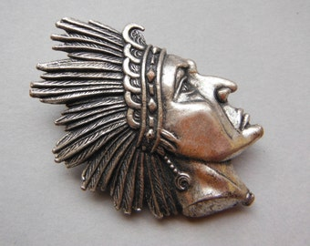 Vintage Native American Head Brooch