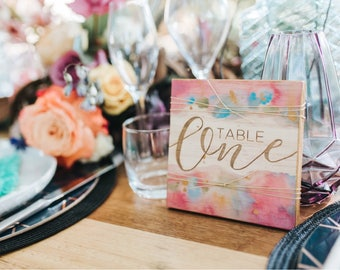 Table numbers. Laser engraved painted bohemian style.