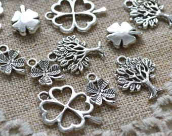20 St Patrick Clover Charms Pendant Silver Pewter Tree Of Life Luck Lucky
