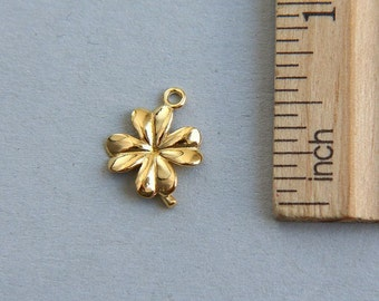 SALE, Four Leaf Clover, Lucky Clover Flower Charm, 24K Gold plated sterling silver Clover Flower Charm, Gold plated clover, 13mm( 1 piece )