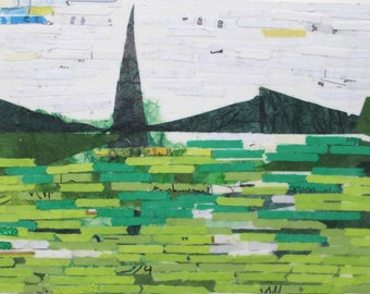 Abstract Landscape, recycled paper art, collage, green landscape, monument mountains