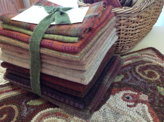 WOOL PACK, Wool Bundle for Rug Hooking and Applique,  WP201, Folk Art Wool Pack, Wool Pack for Revised Spiral Chicken