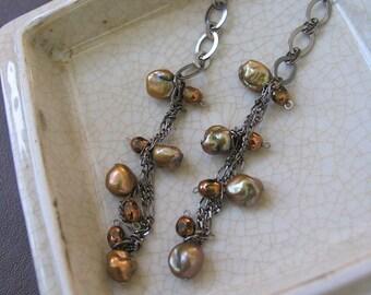 Dangling Brown Copper Bronze Keishi Pearl Earrings by Denise Sloan