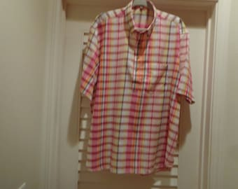 shirt limited edition authentic Indian madras  plaid popover