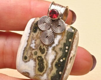 Ocean Jasper and Garnet sterling silver pendant  (#J1730)