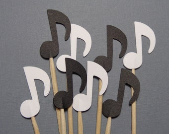 Black and White Music Note Cupcake Toppers - Food Picks - Party Picks - Music Theme Party Decorations - Set of 24