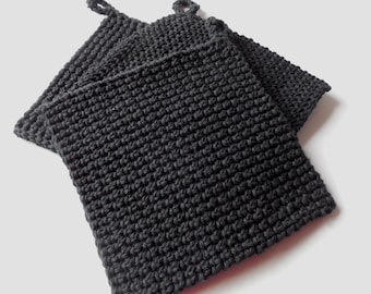 Pot Holder - Hot Pad - Trivet - Black - Handmade Crochet - Made to Order