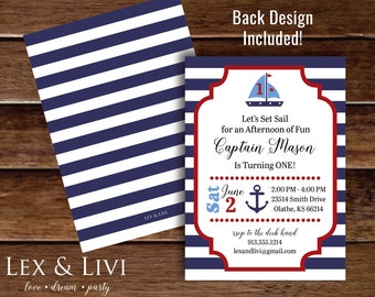 Nautical Invitation First Birthday Party Pack Nautical Party Boy Birthday Nautical Printable Sailor Party Nautical Birthday 1st Birthday