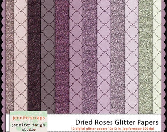 Instant Download - Set of 12 digital papers - Dried Roses Glitter Papers