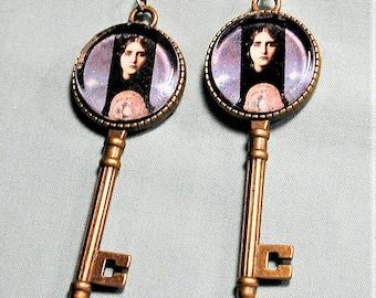 Gothic Fortune Teller Key Design Earrings
