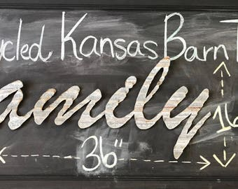 FAMILY sign in Kansas Barn Tin Junk Rusty wall decor home country